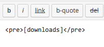 downloads shortcode wrapped in pre div